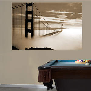 Golden Gate Bridge Fog Mural Fathead Wall Decal
